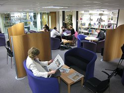 Students working in the Main Library's Knowledge Exchange