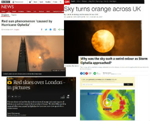 News coverage of the orange sky on Monday