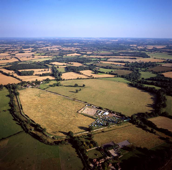 The site of Silchester Roman town from above