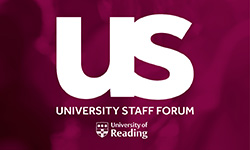 University staff forum logo, white lettering to purple background