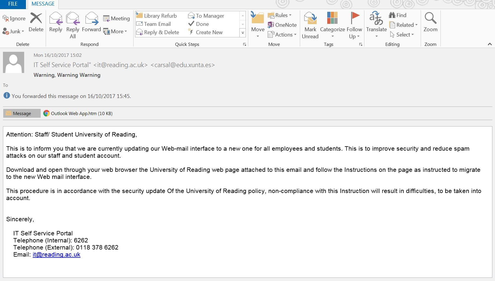 reminder spam emails using spoofed addresses student services news