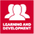 learning and development logo, white to red background