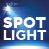 Spotlight logo, graphic of spotlight and white lettering to blue background