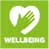 Wellbeing logo white hand and heart graphic and white lettering to green background